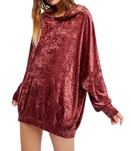 (Fulok Womens Velour Loose Fit Kangaroo Pocket Pullover Hoodie Sweatshirt Wine Red Free Size)