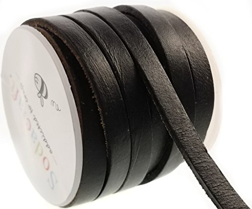 Thick Black Genuine Cowhide Leather Flat Cord Spool for Jewelry Making, Crafts (7mm) (Wholesale Leather Jewelry)