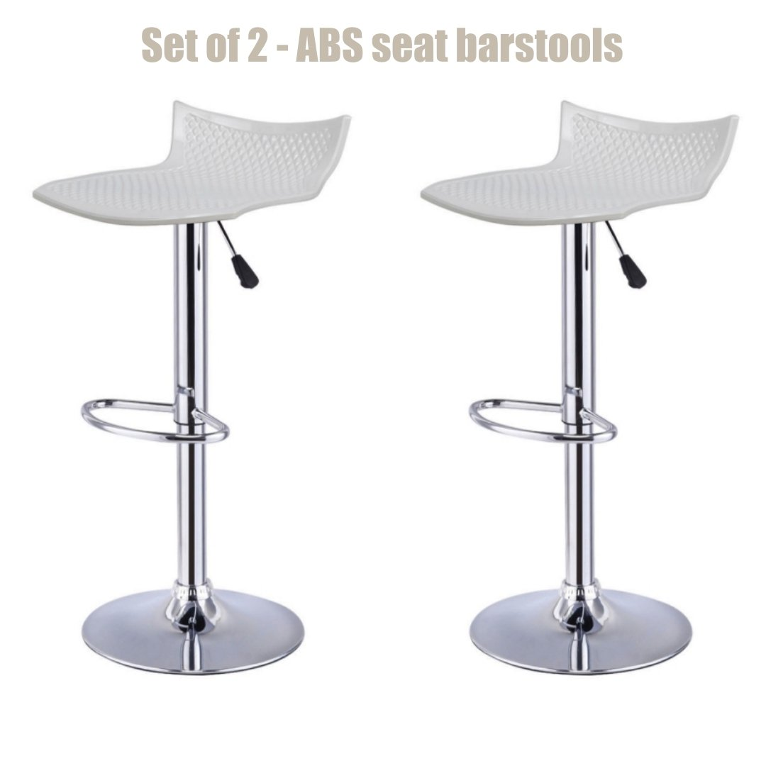 Contemporary High-Gloss ABS Seat Bar stool Adjustable Height 360 Degree Swivel Stable Footrest Premium Chrome Frame Kitchen Office Pub Chair New White - Set of 2 #1228w by Koonlert@shop
