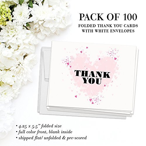 Bridal Shower Invitations & Thank You Cards with Envelopes Matched Set ( 100 of Each ) Beautiful Pink Hearts Write-in Invites & Bride's Wedding Party Gift Folded Thank You Notes Best Value Combo Pair by Digibuddha (Image #6)