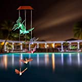 PATHONOR Solar Led Butterfly Wind Chimes, Color-changing Wind Chime Waterproof Automatic Light Sensor Outdoor Decor for Valentines Gift Home Party Balcony Porch Patio Garden, Upgraded Version