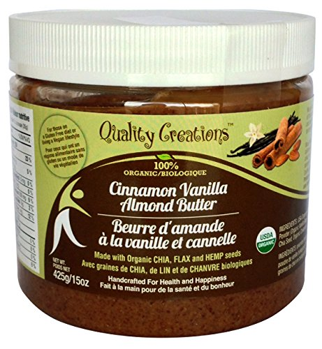 Almond Butter 100% Organic. Keto - 7 grams of Protein. Low Sugar. Enhanced with Chia, Flax and Hemp. Flavored with Cinnamon Vanilla. Very Spreadable and So Creamy. Fresh Made Small Batches 425g/15oz.