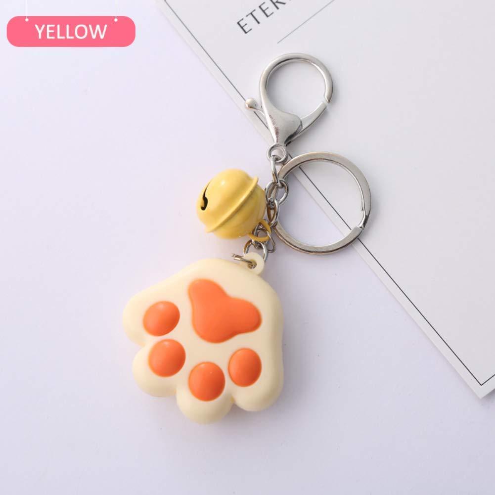 Delleu Cute chiave catena tridimensionale Cat Claw morbido in gomma campana auto ciondolo zaino cerniera