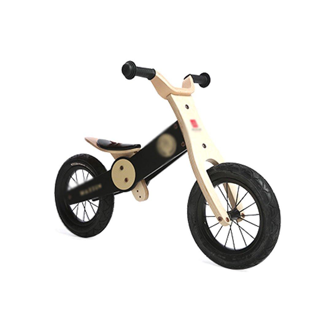 バランスの車はペダルなしの子供のスクーターを膨らませる必要はありませんベビースクーターバギー子供二重ホイール自転車2つのラウンド木2-6歳  Black B07F5JYD6S
