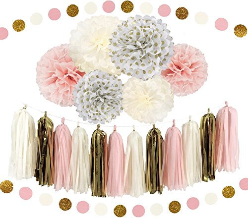 Assembly 12 Strand (Ella Mint 20PCS Tissue Decoration Kit   Pretty Party Supplies: Pom Flowers, Garland & Tassels   Pastel Pink, Cream & Gold Polka Dot   Perfect poms for baby shower or girls first birthday!)
