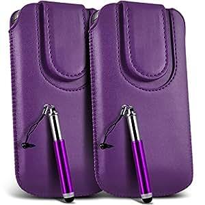 Online-Gadgets UK - Blackberry Q5 PU botón magnético tire del cable cubierta de la caja de la bolsa del tirón Tab y retráctil Stylus Pen (doble) - púrpura oscuro