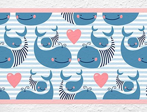 I-love-Wandtattoo b-10032 Nursery Wall Decal Border Sweet whales Child's Room Sticker Boy Girl ()