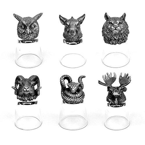 Ram, Tiger, Moose, Snake, Boar and Owl Animal Head Shot Glasses Set of 6 ( 50ml - Glasses Moose Head