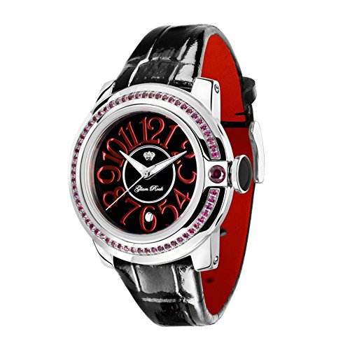 Glam Rock Women's GR32048 SoBe Garnet Accented Black Dial Watch