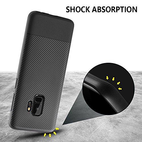 Para Samsung Galaxy S9 Plus S9 + funda, cubierta protectora TPU suave antideslizante ultra delgada con amortiguación flexible y duradera con diseño de fibra de carbono para Galaxy S9 Plus - negro para S9