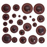 1set Deluxe Dark Brown Alto Saxophone Woodwind 25pcs Leather Pads for Yamaha Size replacement