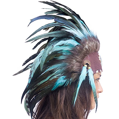 Unique Feather Headdress- Native American Indian Inspired- Handmade Halloween Costume for Men Women with Real Feathers - Turquoise with Beads