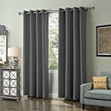 FirstHomer Solid Color Blackout Curtains Room Darkening Curtains Antique Bronze Grommet Curtains Insulated Curtains for Living Room Grey 52Wx63L Inch