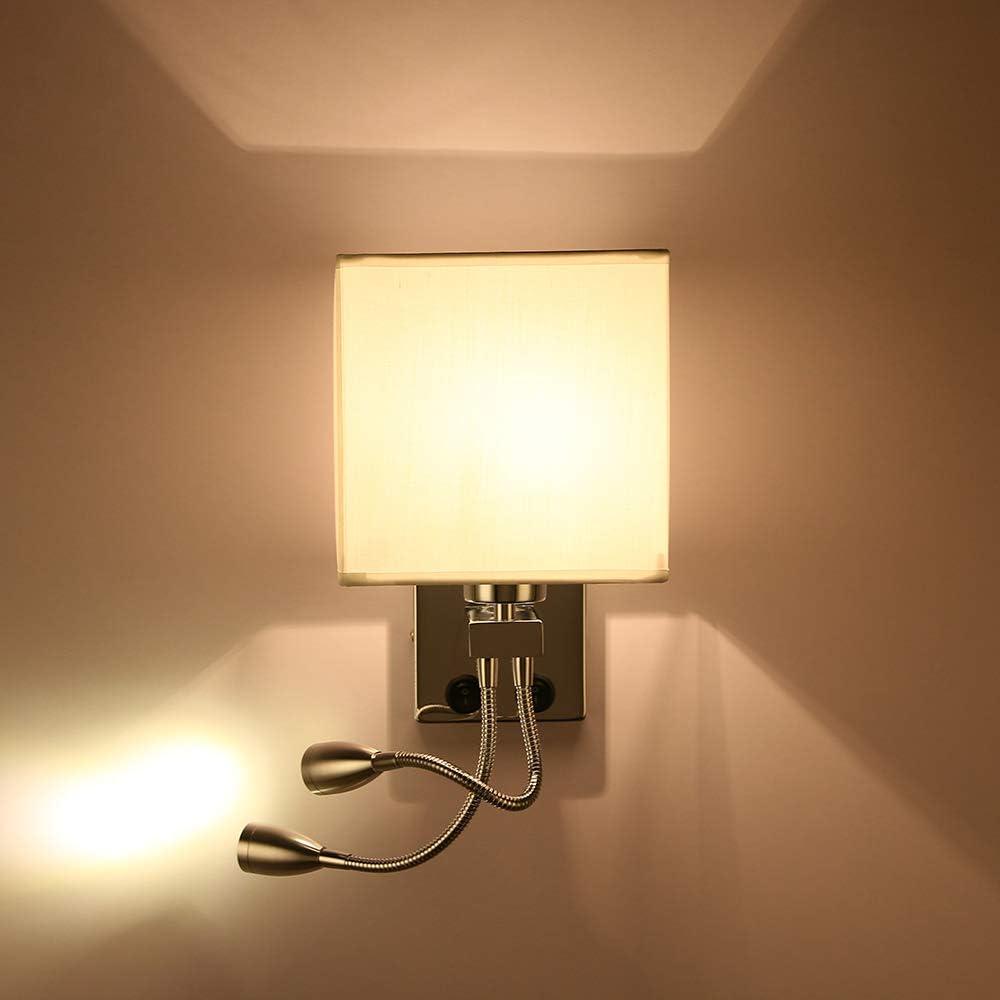 lampe de lecture LED col de cygne r/églable avec 2 lumi/ères 2 interrupteurs pour chambre salon lampe de lecture murale 2 en 1 avec lampe de lecture LED flexible PopHMN Applique murale de chevet