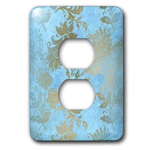 3dRose Uta Naumann Faux Glitter Pattern - Image of Sky Blue and Gold Metal Foil Vintage Grunge Luxury Floral Pattern - Light Switch Covers - 2 plug outlet cover (lsp_290170_6) by 3dRose