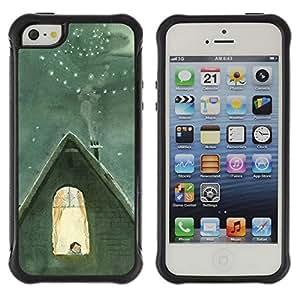 Híbridos estuche rígido plástico de protección con soporte para el Apple iPhone 5 / 5S - winter famous Catia Chien nucleus