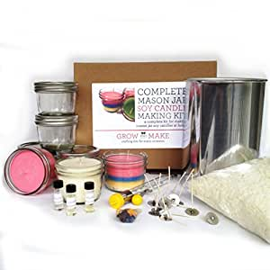 Complete Mason Jar Soy Wax Candle Making Kit (Makes 24 4oz)