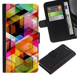 ULTIX Cases / Sony Xperia Z1 Compact D5503 / MINIMALIST MAZE PATTERN / Cuero PU Delgado caso Billetera cubierta Shell Armor Funda Case Cover Wallet Credit Card