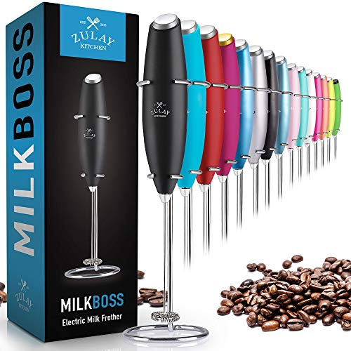 Zulay Original Milk Frother Handheld Foam Maker for Lattes – Whisk Drink Mixer for Coffee, Mini Foamer for Cappuccino…