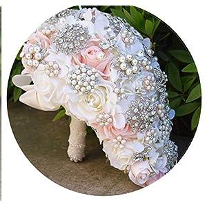 Round Blush Wedding Bouquet for Brides Teardrop Butterfly Brooch Bouquet Alternative Cascading Bouquets Crystal Wedding Flowers 24