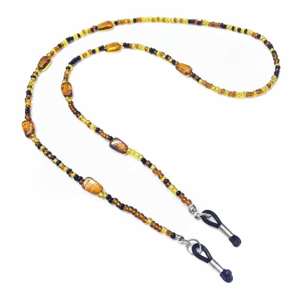 Amber Non-Slip Glasses Chain Decorative--Agate-Glass Stone Beaded Glasses Chain Neck Retainer Rope Holder for Women Best Gift (brown)