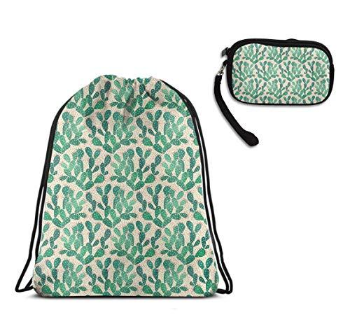 Gym School Drawstring Bag Rucksack - Green Cactus Pattern Drawstring Rucksack, High Capcity Lightweight Waterproof Gymsack Sackpack + Clutch Travel Purse Handbag -