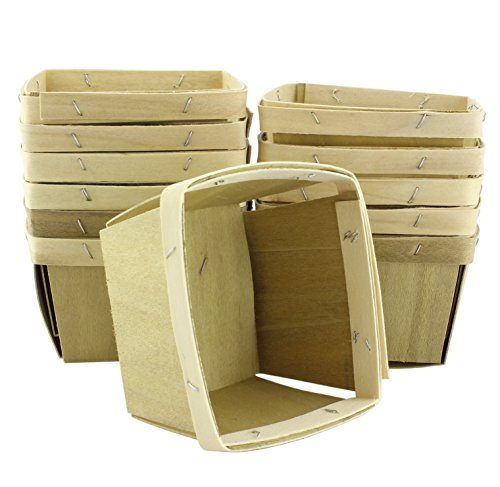 """One Pint Wooden Berry Baskets (12-Pack); 4.25"""" Square Vented Boxes for Fruit Picking or Arts & Crafts"""