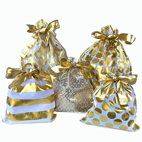 Reusable Fabric Gift Bags - Set of 5 Bags - Wrap Presents in Seconds!