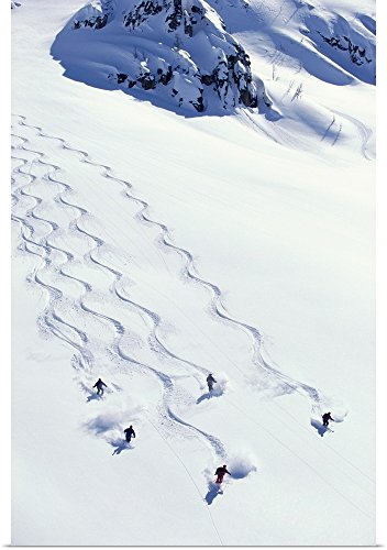 Poster Print entitled Heli-skiing, five people descending sl