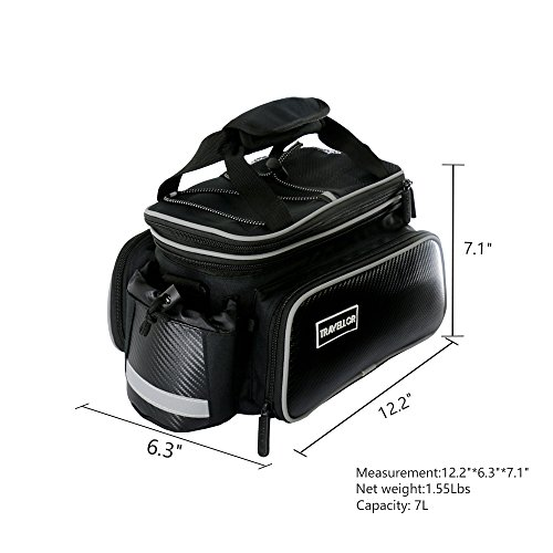 Bike Pannier Bag Durable Waterproof Tote Bag Zipper Pockets Bicycle Tail Back Seat Package Handbag Bottle Case