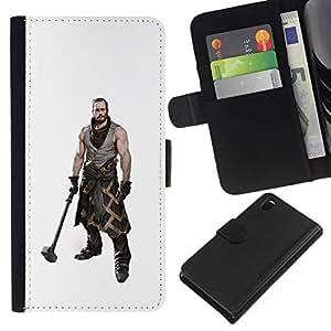 All Phone Most Case / Oferta Especial Cáscara Funda de cuero Monedero Cubierta de proteccion Caso / Wallet Case for Sony Xperia Z3 D6603 // Hammer Warrior Man Muscles Masculine Art
