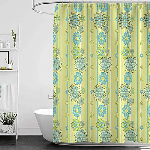 homecoco Shower Curtains Mildew Resistant White Yellow and Blue,Blooming Ornate Flower Motifs Vertical Stripes Dots,Pistachio Green Sky Blue Mustard W48 x L72,Shower Curtain for Kids