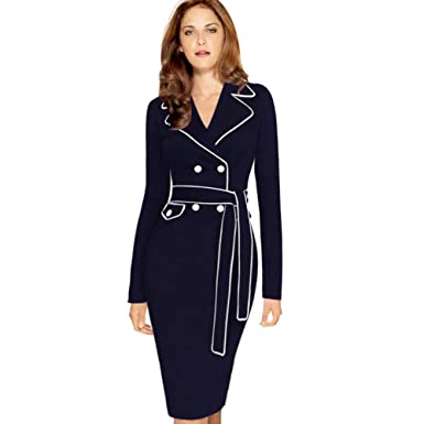 0850f55a80f Amazon.com  Womens Dresses Fashion Ladies Long Sleeve Suit V Neck Collar Sashes  Pencil Skirt Dress  Clothing