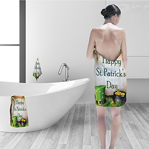 St Patricks Day Gift Holiday for Celebration Party Decorations in Irish Shamrock Leaf The Lucky Clovers Gold Horseshoe Coin Traditional Bath Decor Hat Fabric Green Yellow Brown ()