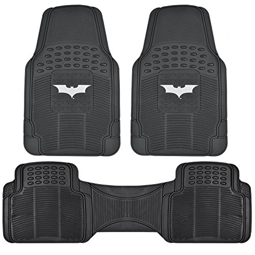 Dark Knight Batman Rubber Floor Mats for Car - 3 PC Set, Warner Brothers, Trimmable to Fit -