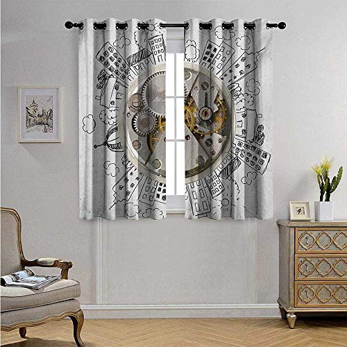 Clock Decorative Curtains for Living Room an Alarm Clock with Clouds and Buildings Around It in Vintage Style Pattern Design Blackout Drapes W63 x L45(160cm x 115cm) Pale Grey