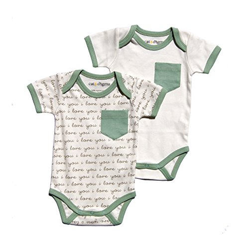 "Cat & Dogma - Certified Organic Infant/Baby Clothing ""I Love You"" Writing Bodysuit Pack (0-3"