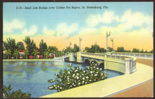 Snell Isle Bridge Coffee Pot Bayou FL postcard 1950