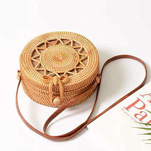 Kong Natural Straw - Zozu New Women Straw Bag Handmade Rattan Women Round Bohemia Style Beach Circle Bag Hollow Retro Kintted Bow Shoulder Bags CA16 (B lou kong wu jiao - 20x20x8cm)
