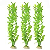 SunGrow 3 Beautiful Plastic Aquarium Plant Set Vibrant Bright Green: Life-Like & Attractive for Your Tank: Non- Toxic & Safe for All Fish & Pets : Easy to Clean : Zero Maintenance : No CO2 Needed