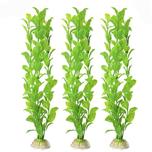 SunGrow Plastic Aquarium Plant Set, 10-inches High, Vibrant Green, Life-Like Attractive Decor, No Maintenance, Artificial Plant Hide Tubes, for Experienced and Starter Aquarists, 3-Pieces ()