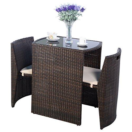 Cushioned Outdoor Wicker Patio Set Garden Lawn Sofa Furniture Seat 3 PCS Brown PSG-101 price