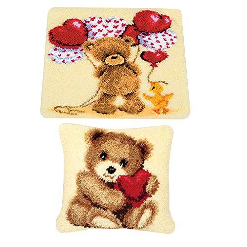 Prettyia 2 Set Latch Hook Kits - Lovely Love Bear - DIY Carpet, Rug, Pillow, Cushion for Children ()