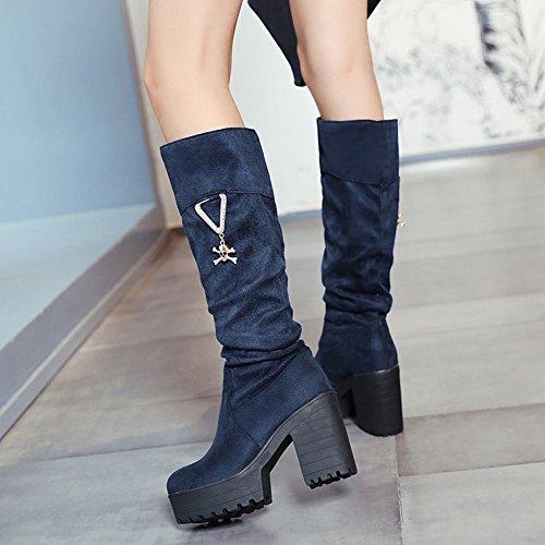 Mee Damen Shoes Nubukleder heels Plateau Blau chunky Stiefel r1rnqxdZw