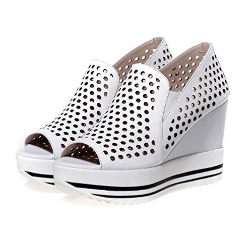 de Pescado Mujer con Las de Zapatos Sandalias Huaishu Tacón Cuña Cuero Blanco de de de de Tacón Zapatos Mujeres Boca Cómodos Alto Alto FASZFqfn