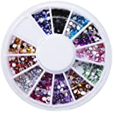 Multiple Color Small Round 1mm Nail Art Rhinestones Glitter Tips Decoration Manicure Wheel