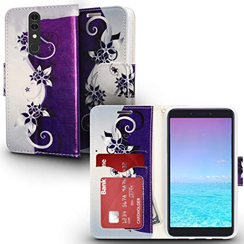 ZV Design Wallet Flap Pouch Compatible with Alcatel Onyx Case with Credit Card and ID Holder Purple Silver Vines