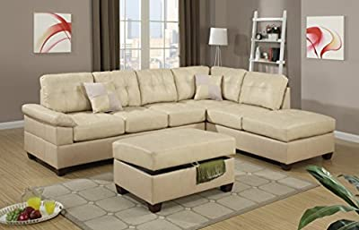 Madan Sectional Sofa with Ottoman Upholstered in Bonded Leather with Free Accent Pillows