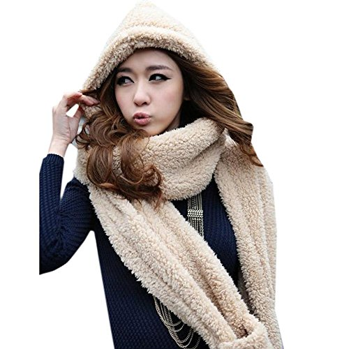 Women Warm Soft Fleece Hooded Scarf Hat Mitten all in one with Pocket for Winter