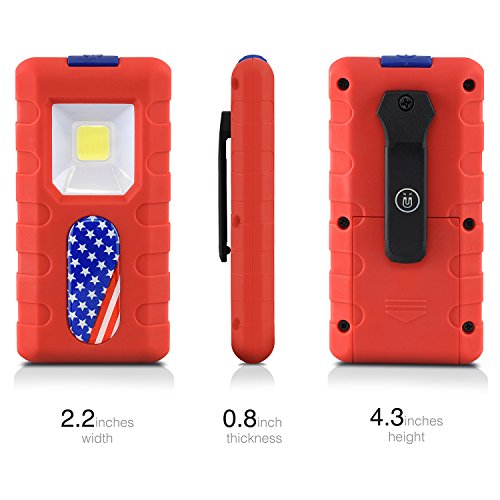Neiko 40330 Compact 1.5W COB LED Pocket Light | 150 Lumens Brightness | Magnetic Rear Clip | 3 AAA Batteries Included